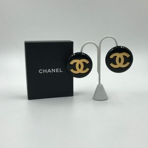 Authentic Vintage Chanel Gold CC Black Disc Earrin